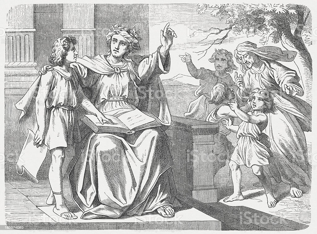 The Wisdom calls and warns, Proverbs of Solomon, published 1877 vector art illustration