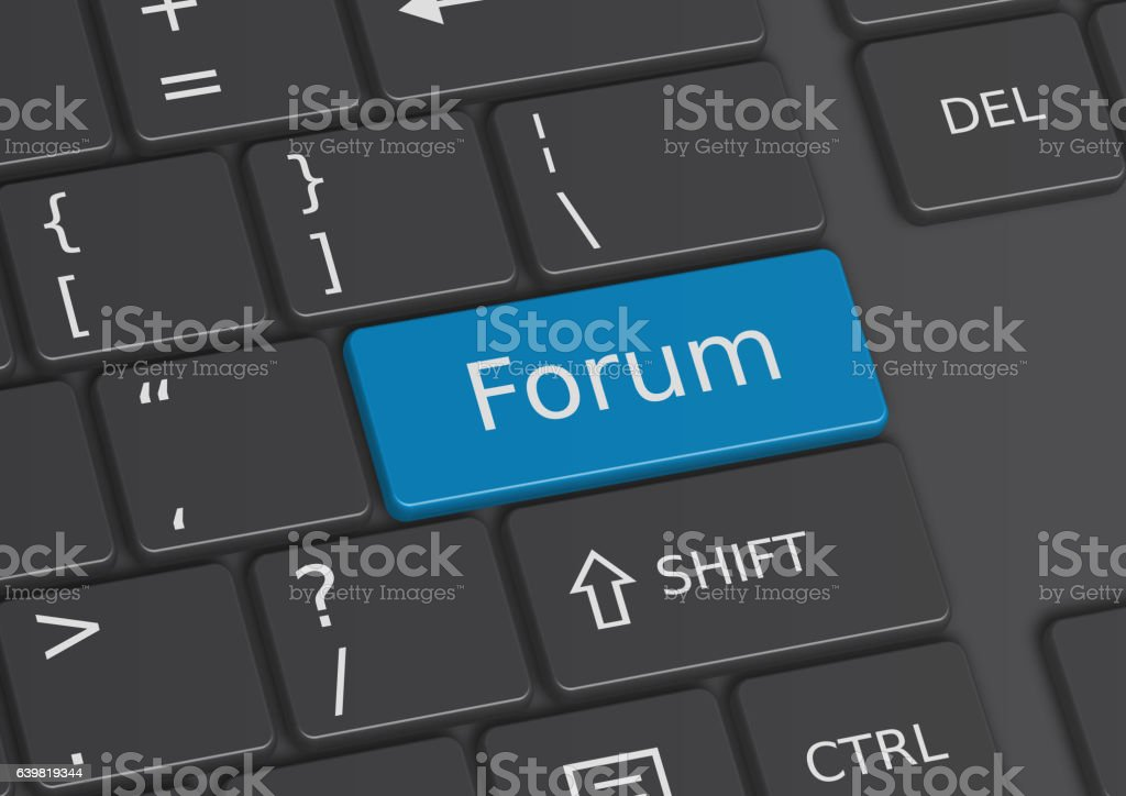 The word Forum written on the keyboard vector art illustration