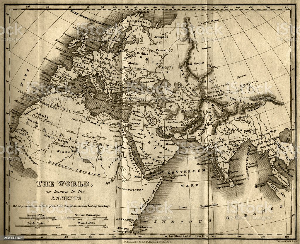 The World as Known to the Ancients (steel engraving) vector art illustration