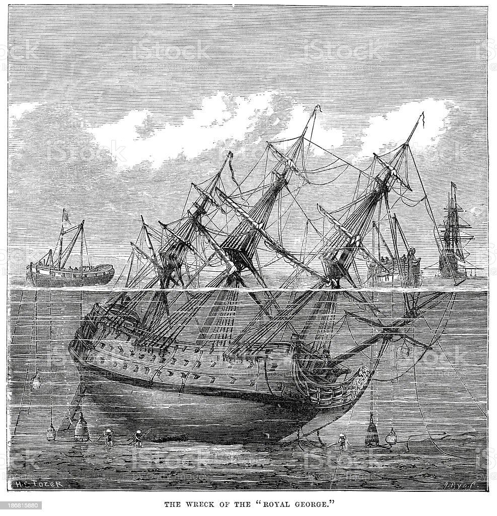 The wreak of HMS Royal George vector art illustration