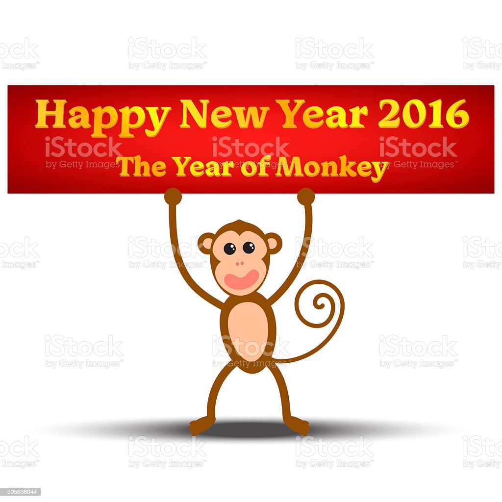 The Year of Monkey vector art illustration