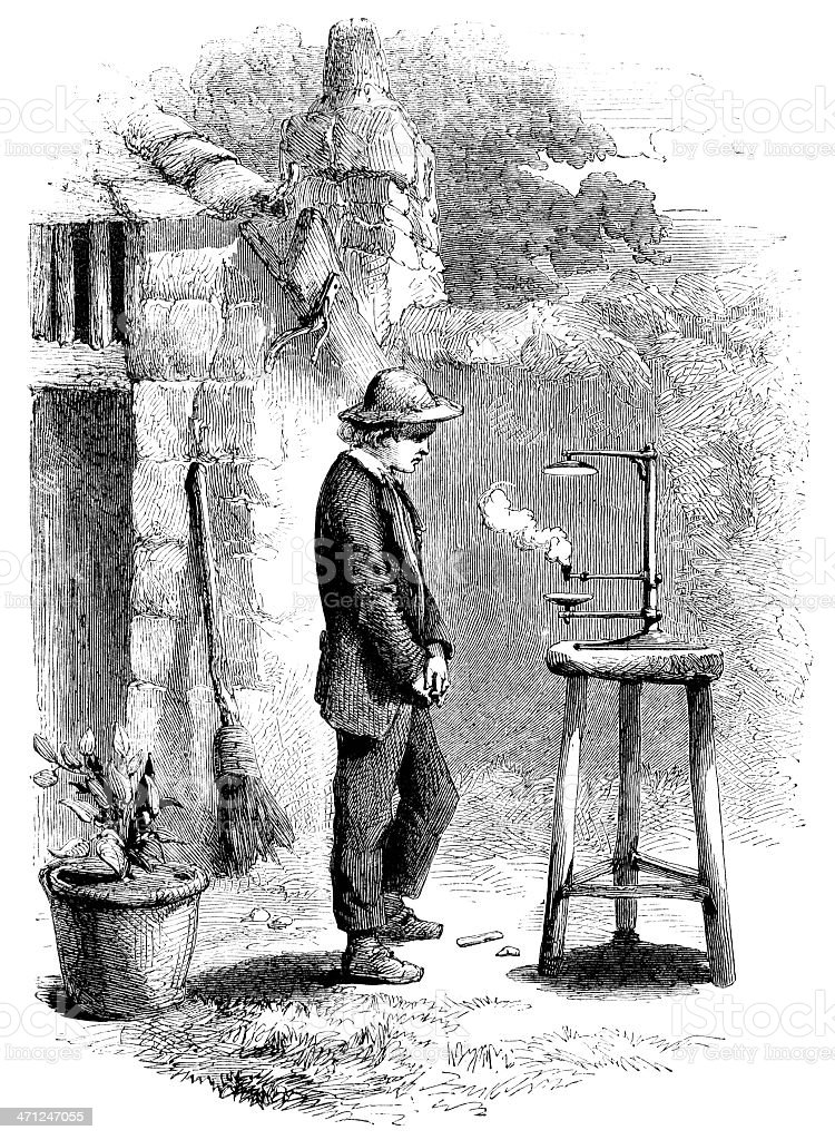 The young Humphrey Davy experimenting (Victorian illustration) vector art illustration