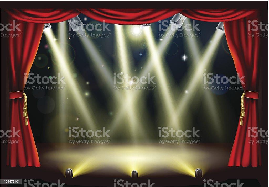 Theater stage lights vector art illustration