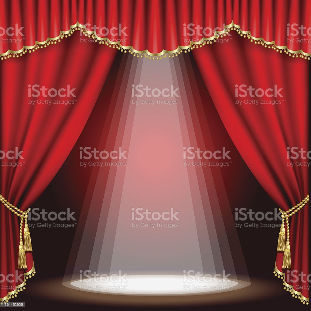 Stage curtains spotlight - Theater Stage With Red Curtains And Spotlight Royalty Free Stock Vector Art