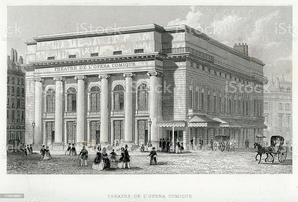 Theatre De L'Opera Comique, Paris royalty-free stock vector art