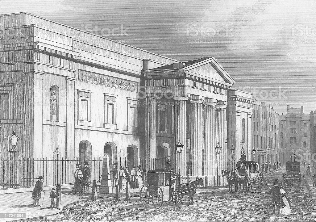 Theatre Royal in Covent Garden Theater 19th Century Engraving vector art illustration