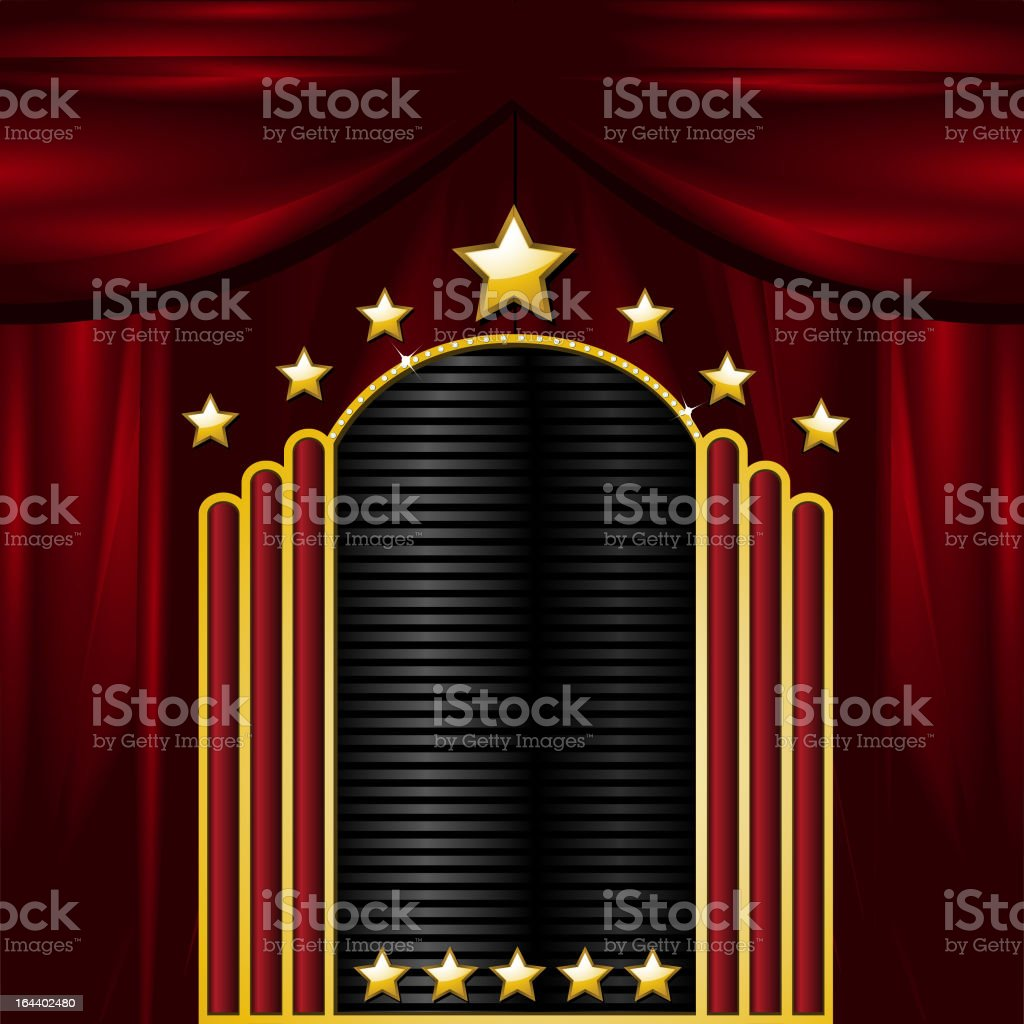 Theatre sign on red curtain background royalty-free stock vector art