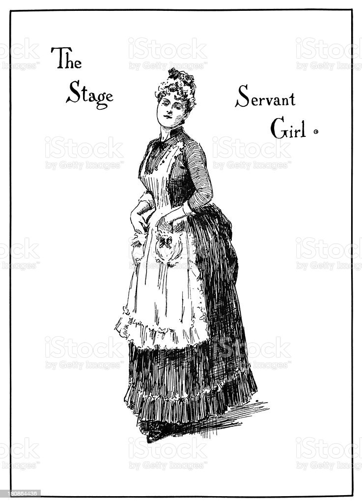 Theatrical characters - The Stage Servant Girl vector art illustration