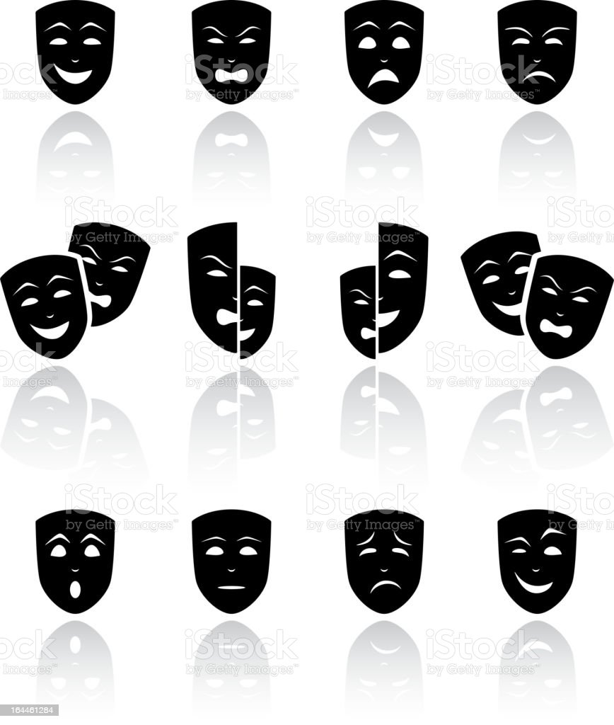 Theatrical masks vector art illustration