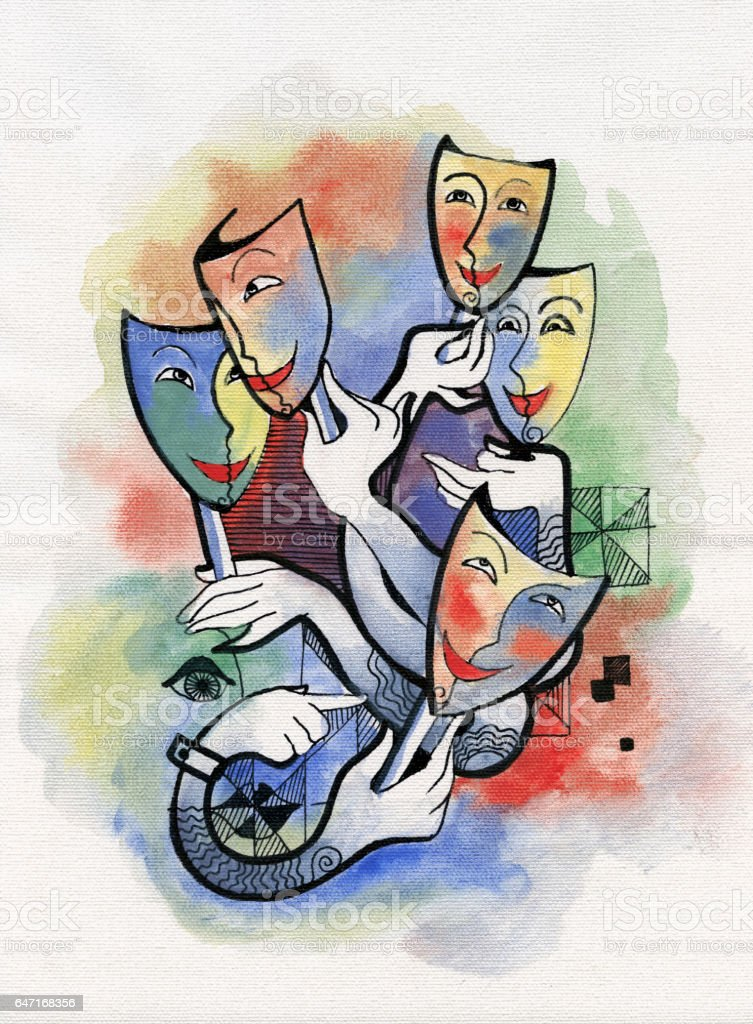 Theatrical masks vector art illustration