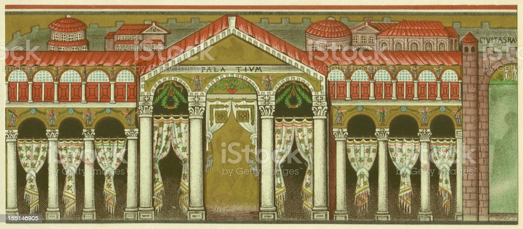 Theodorics Palace, Ravenna, Italy, Lithograph, lithograph, published in 1880 royalty-free stock vector art