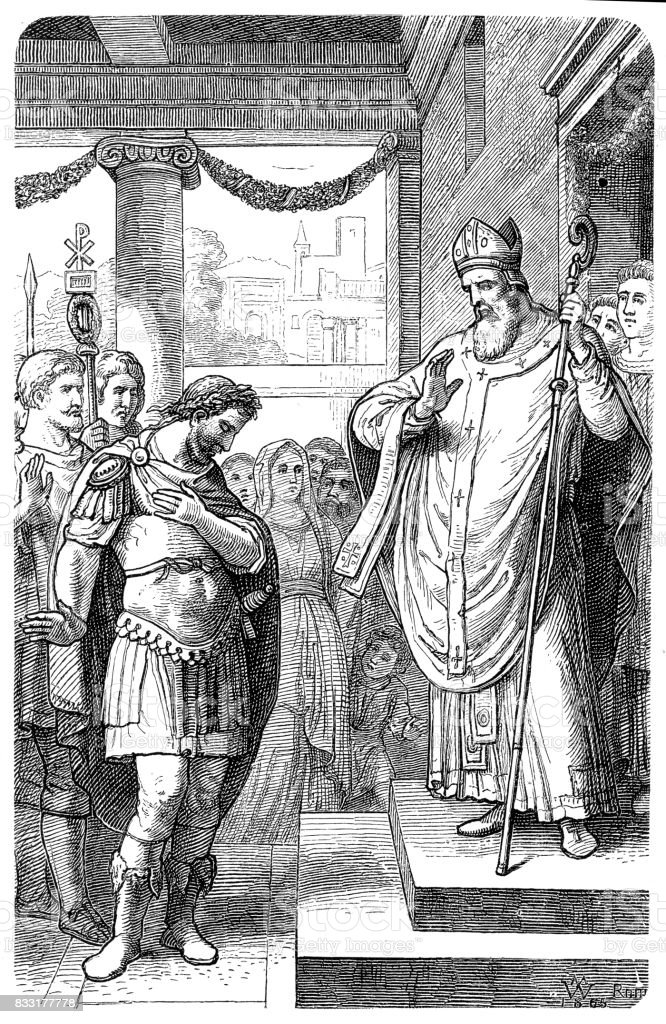Theodosius I, is humiliated by Ambrose vector art illustration