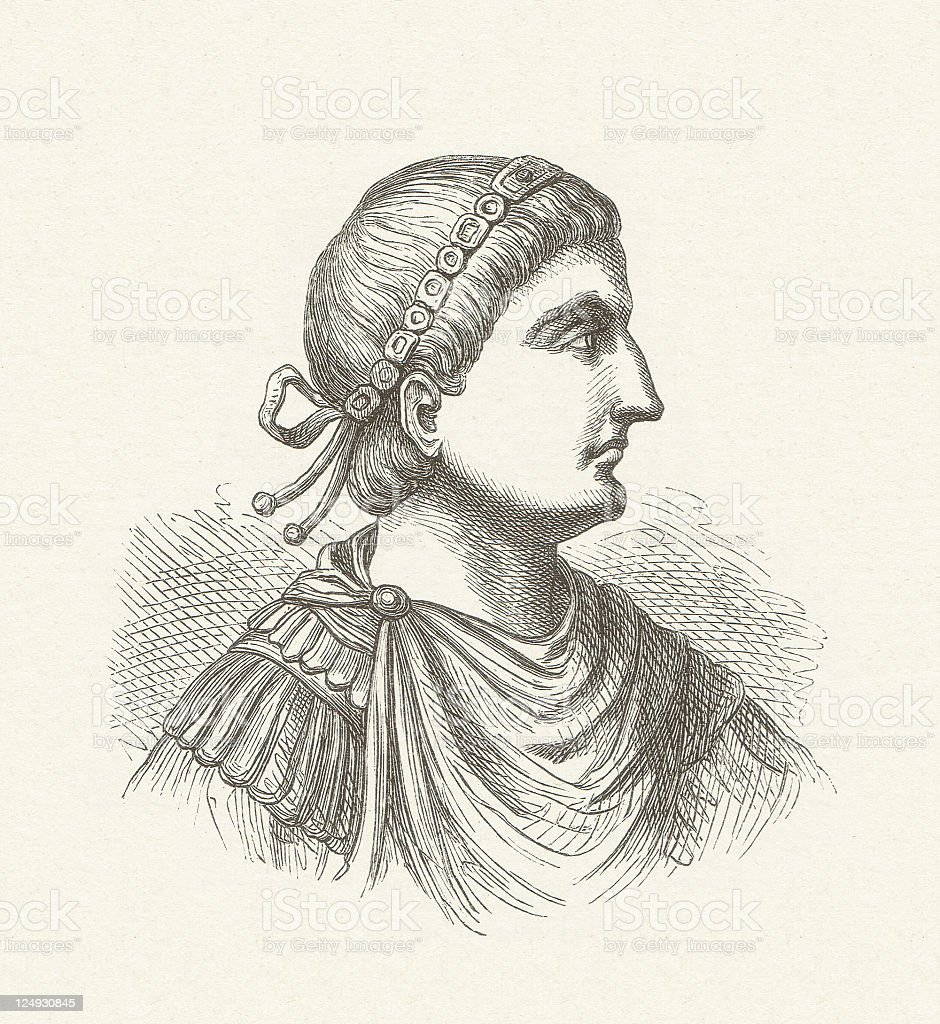 Theodosius I (347-395), Roman emperor, wood engraving, published in 1881 vector art illustration