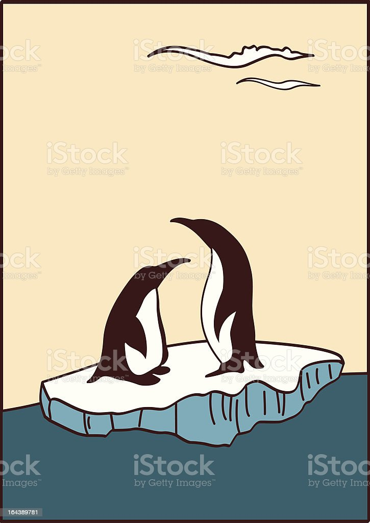 there are penguins at-sea vector art illustration