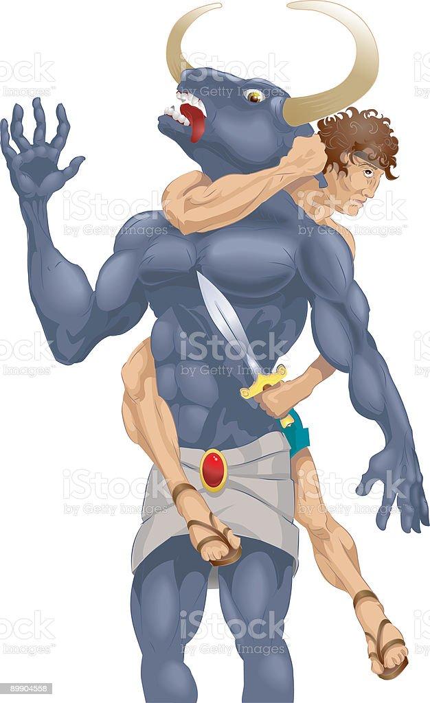 Theseus and the Minotaur vector art illustration