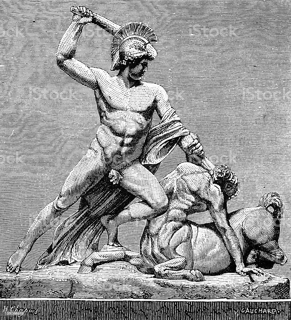 Theseus killing the Minotaur by Canova vector art illustration