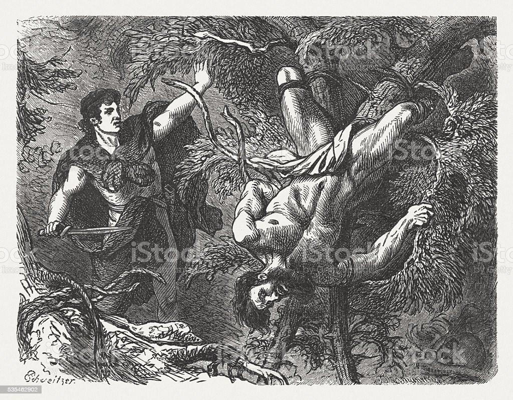 Theseus punished Sinis, Greek mythology, wood engraving, published in 1880 vector art illustration
