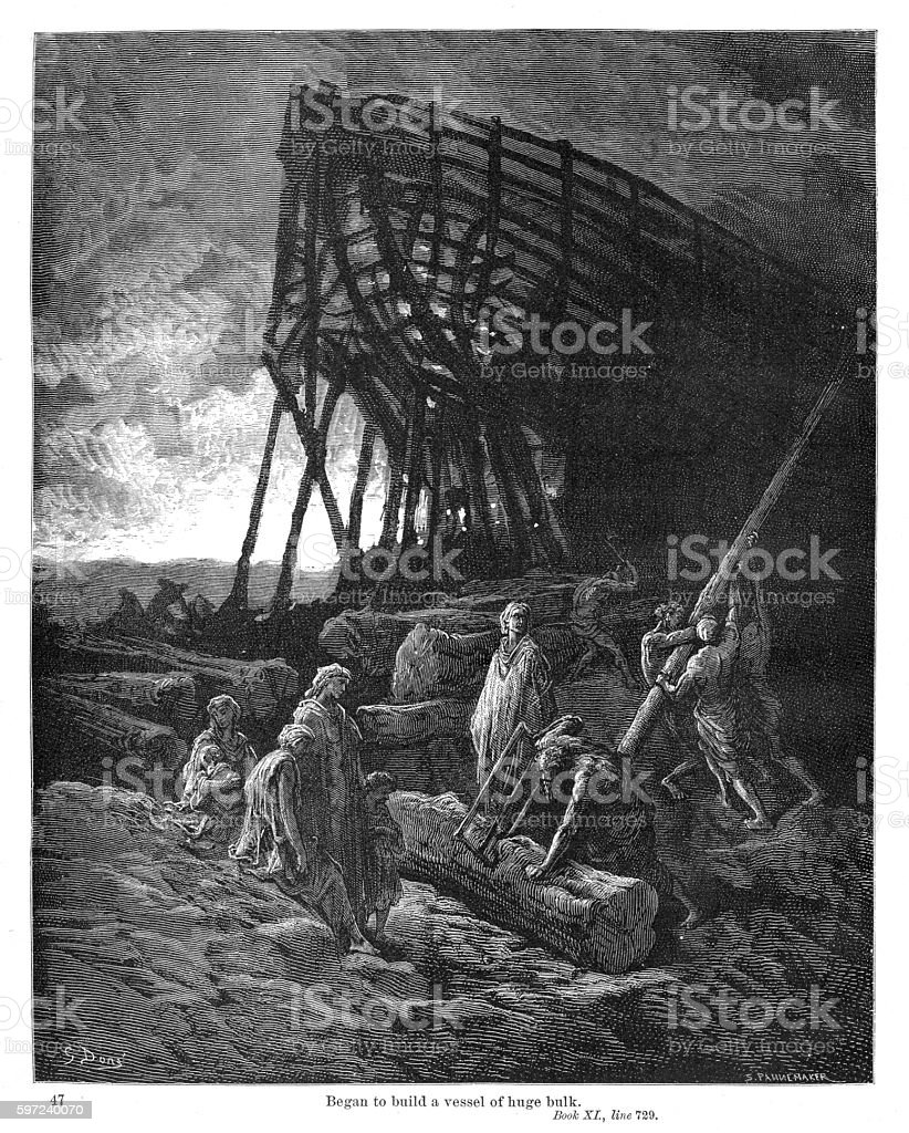 They began to build a vessel engraving 1870 vector art illustration