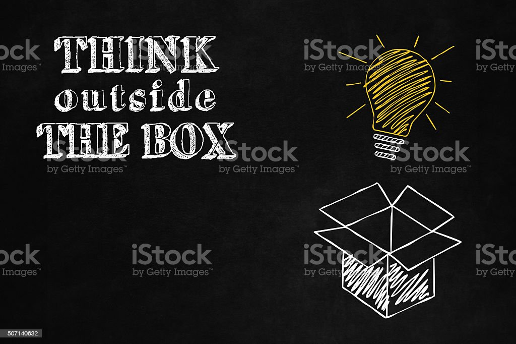Think Outside the Box concept vector art illustration