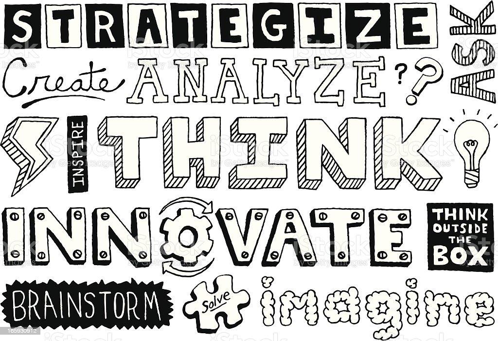 Thinking Doodles Text vector art illustration