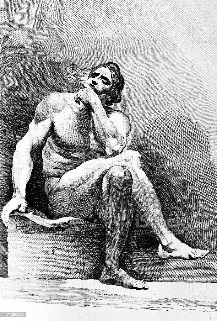 Thinking Man Antique engraving vector art illustration