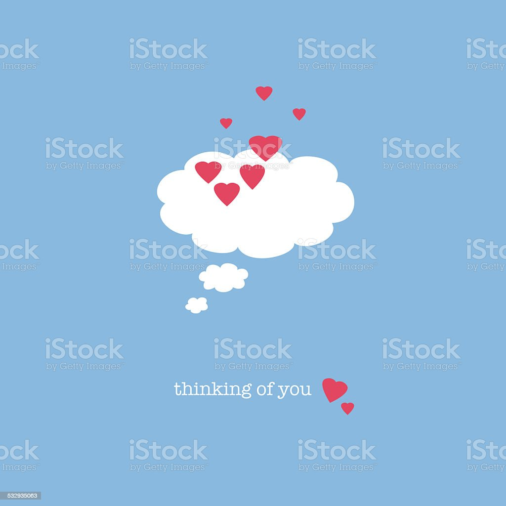 Thinking of you vector art illustration