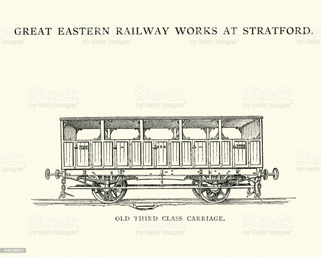 Third Class Victorian Steam Train Carriage vector art illustration