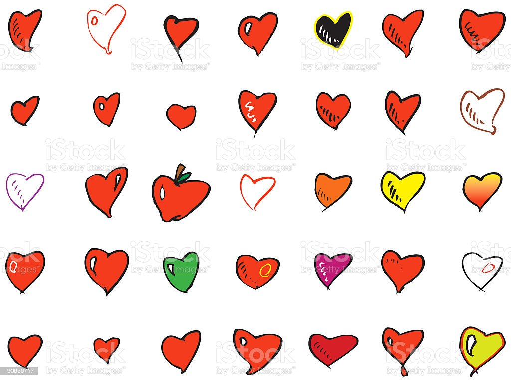 Thirty Four Hearts (and One Apple) royalty-free stock vector art