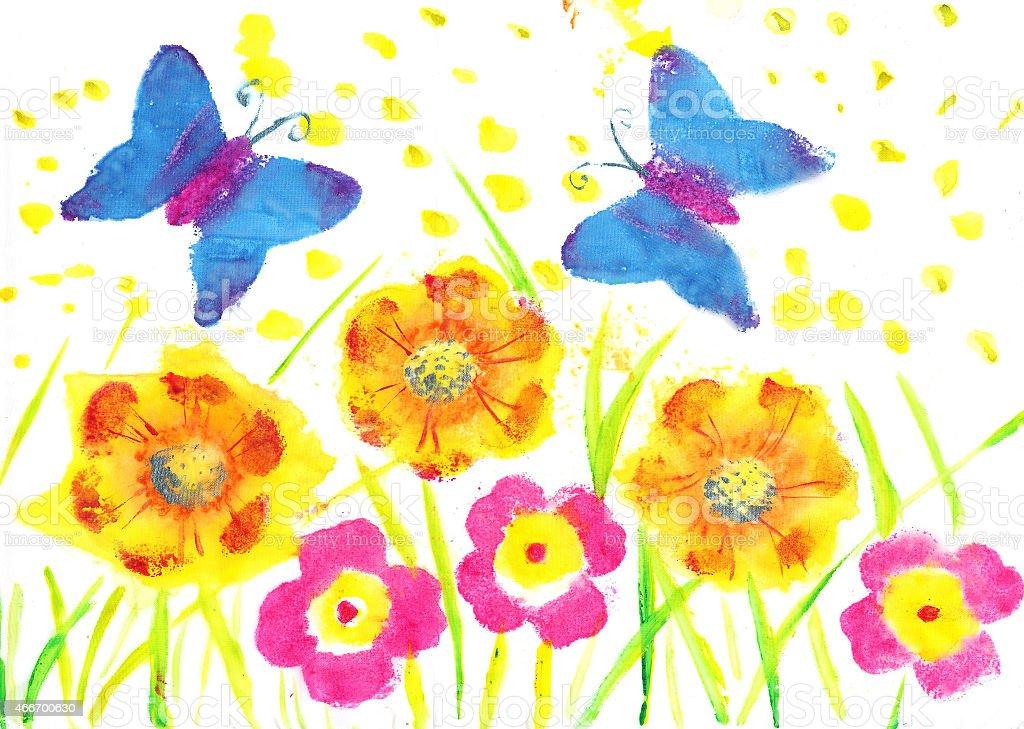 Questo arte farfalla batik. Figlio di disegno ad acquerello, fiori, dandelions poppies illustrazione royalty-free