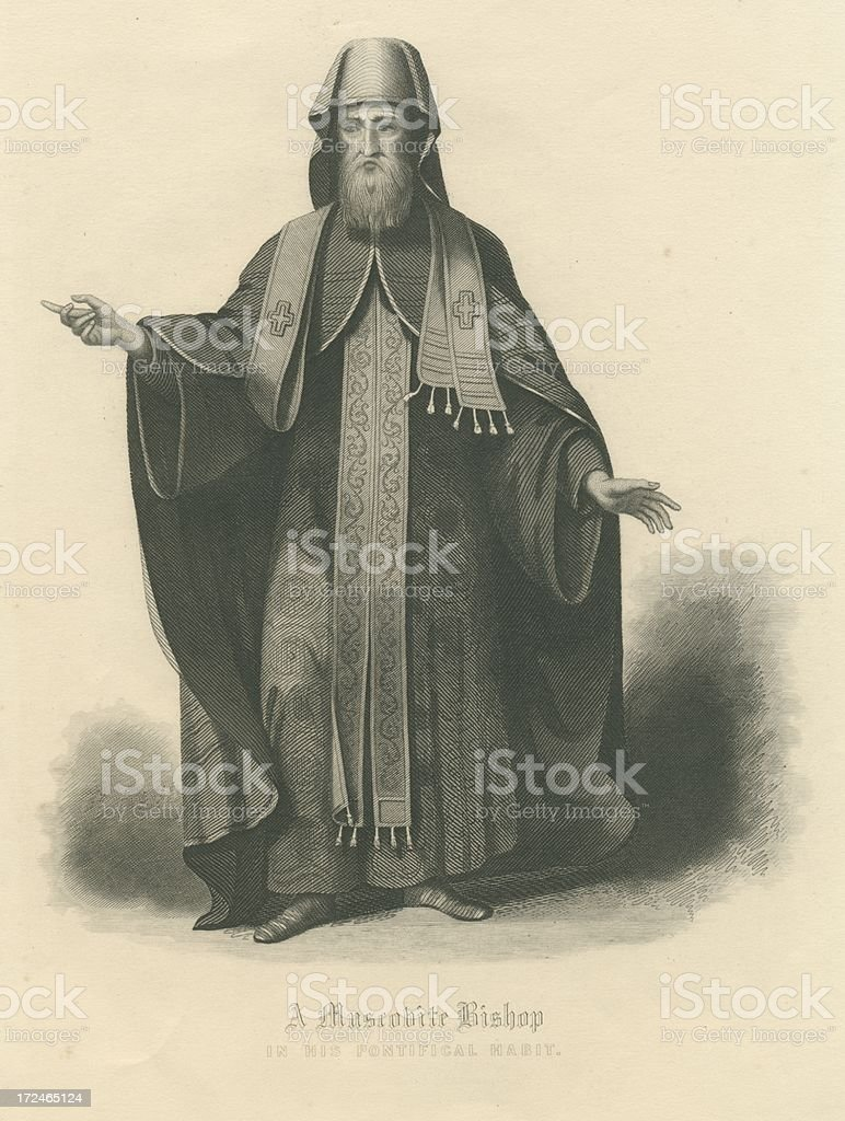 Muscovite Bishop in his Pontifical habit 18th century Russia royalty-free stock vector art