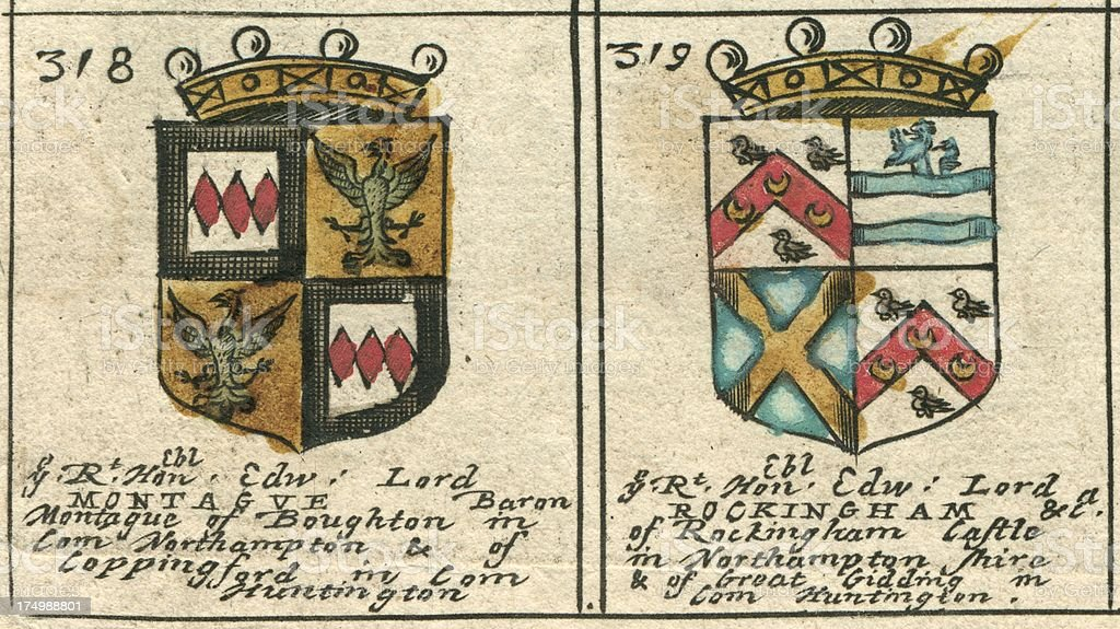 Armorials copperplate 17th century Montague and Rockingham vector art illustration