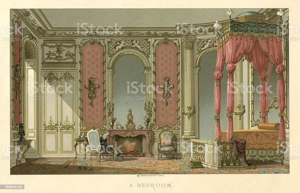 France A Bedroom in the Reign of Louis XVI vector art illustration