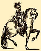 Free your cock harquebusier 17th century cavalry copperplate engraving