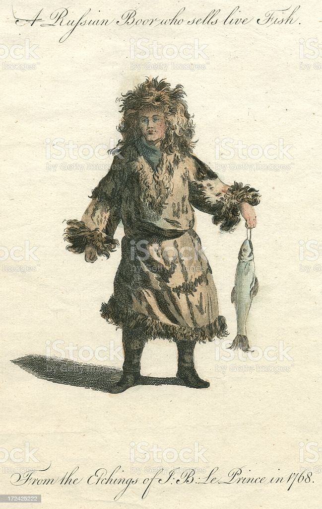 Russian Boor who sells live Fish 18th century engraving royalty-free stock vector art