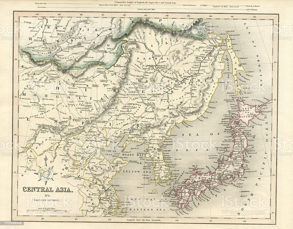 Central Asia including Japan antique map 19th century 1843 vector art illustration