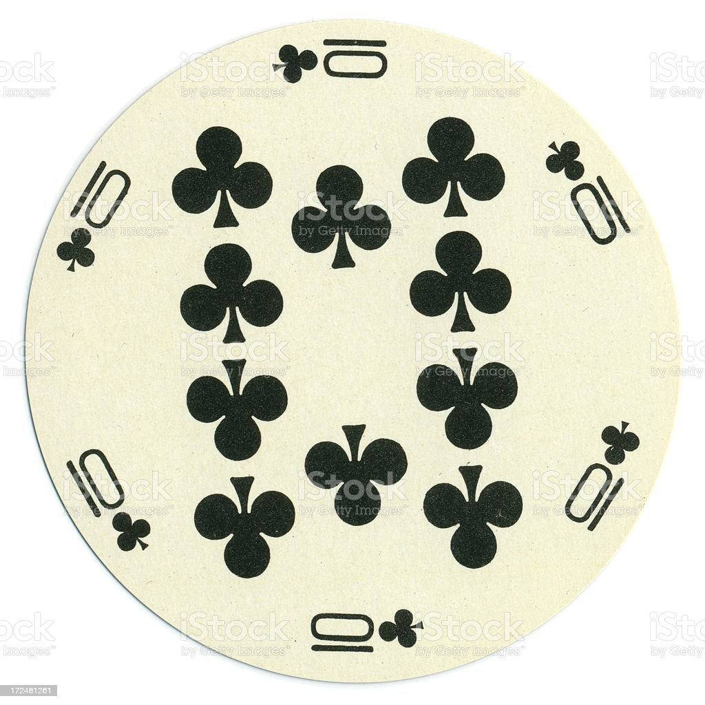Round playing card ten of clubs vector art illustration