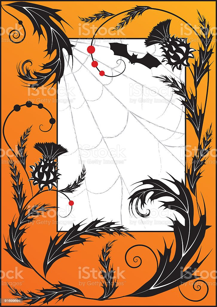 thistle, spiderweb  and bat royalty-free stock vector art