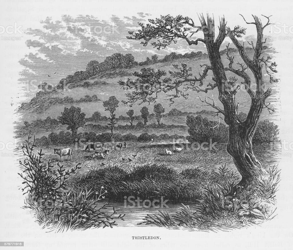 Thistledon, England in Early 18th Century Victorian Engraving, Circa 1840 vector art illustration
