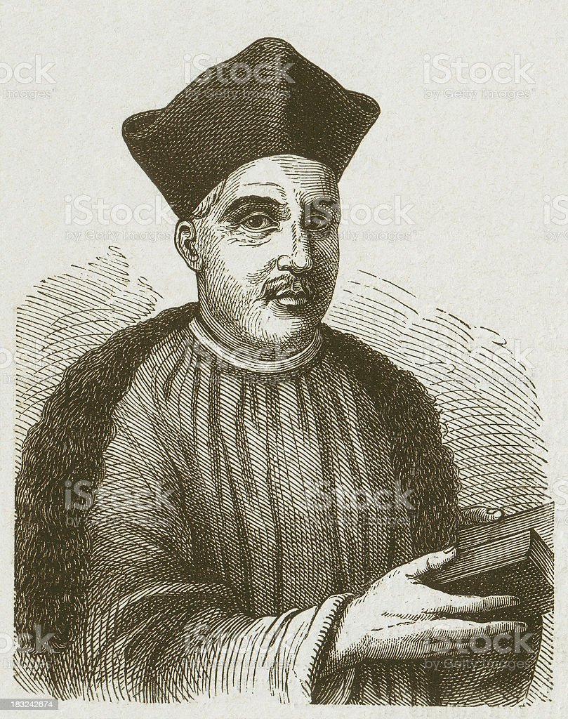 Thomas a Kempis (c.1380-1471), Augustinian monk, wood engraving, published 1877 royalty-free stock vector art