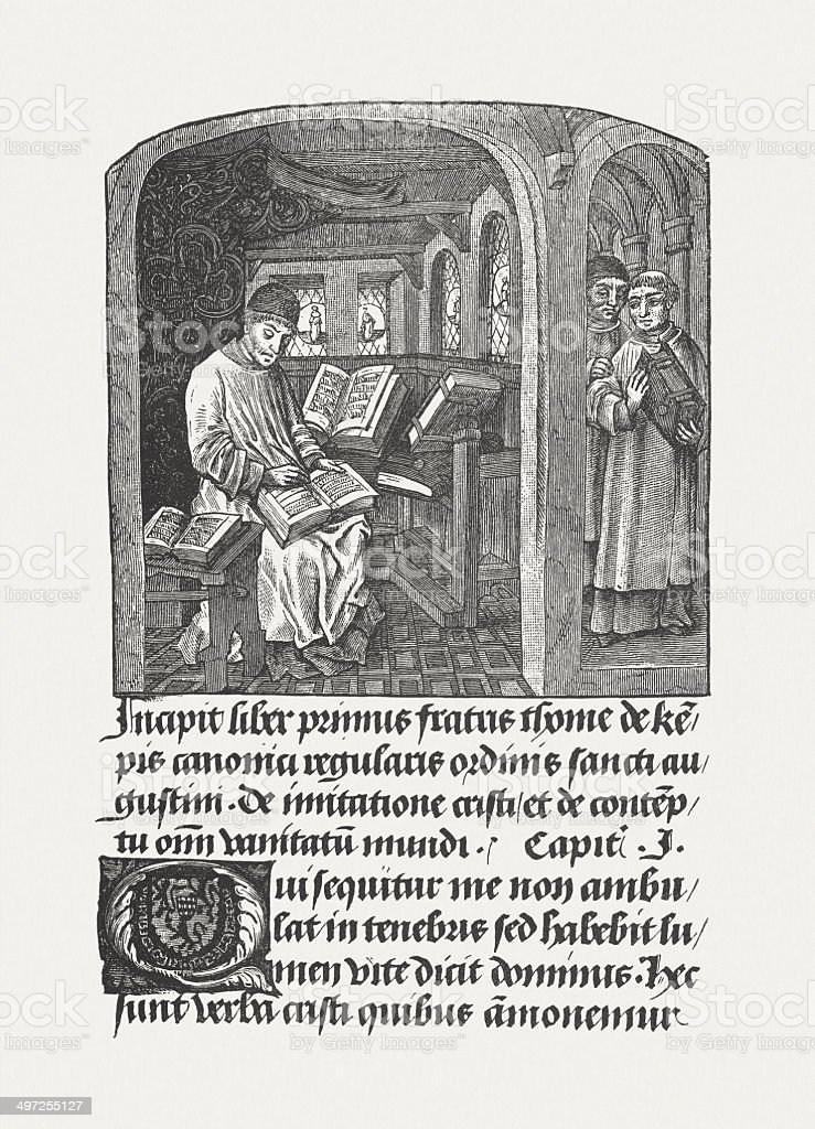 Thomas a Kempis (c.1380-1471), Augustinian monk, wood engraving, published 1881 royalty-free stock vector art