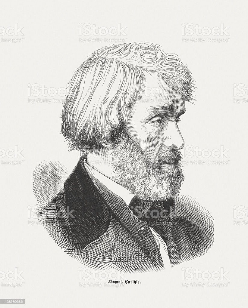 Thomas Carlyle (1795 - 1881), Scottish essayist, published in 1871 vector art illustration