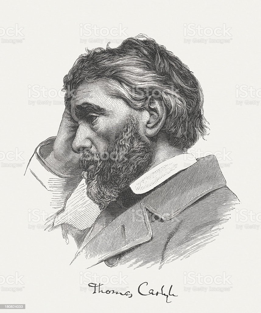 Thomas Carlyle (1795-1881), Scottish essayist, wood engraving, published in 1882 royalty-free stock vector art