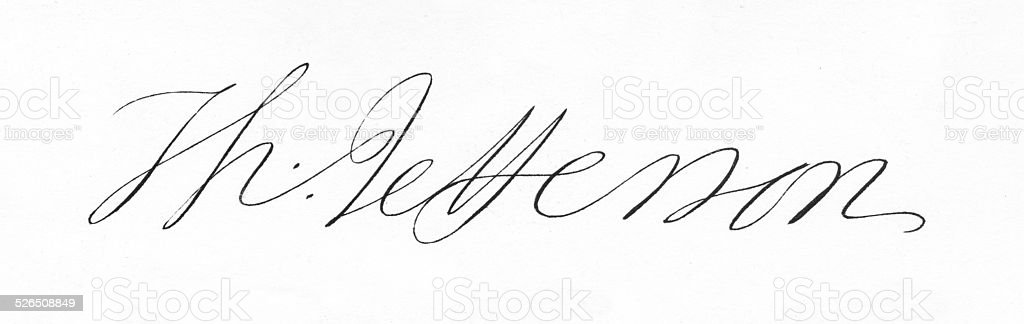 Thomas Jefferson Signature stock photo