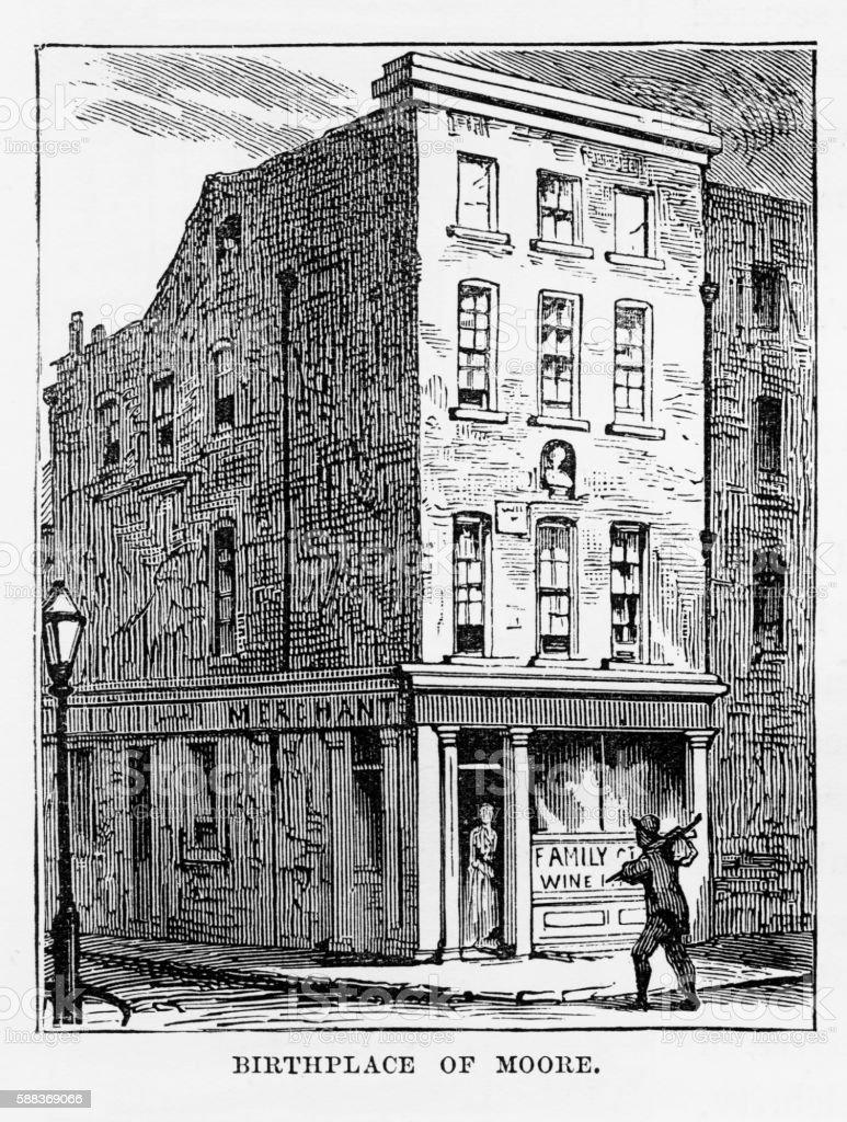 Thomas Moore Home in Dublin, Ireland Victorian Engraving, Circa 1840 vector art illustration