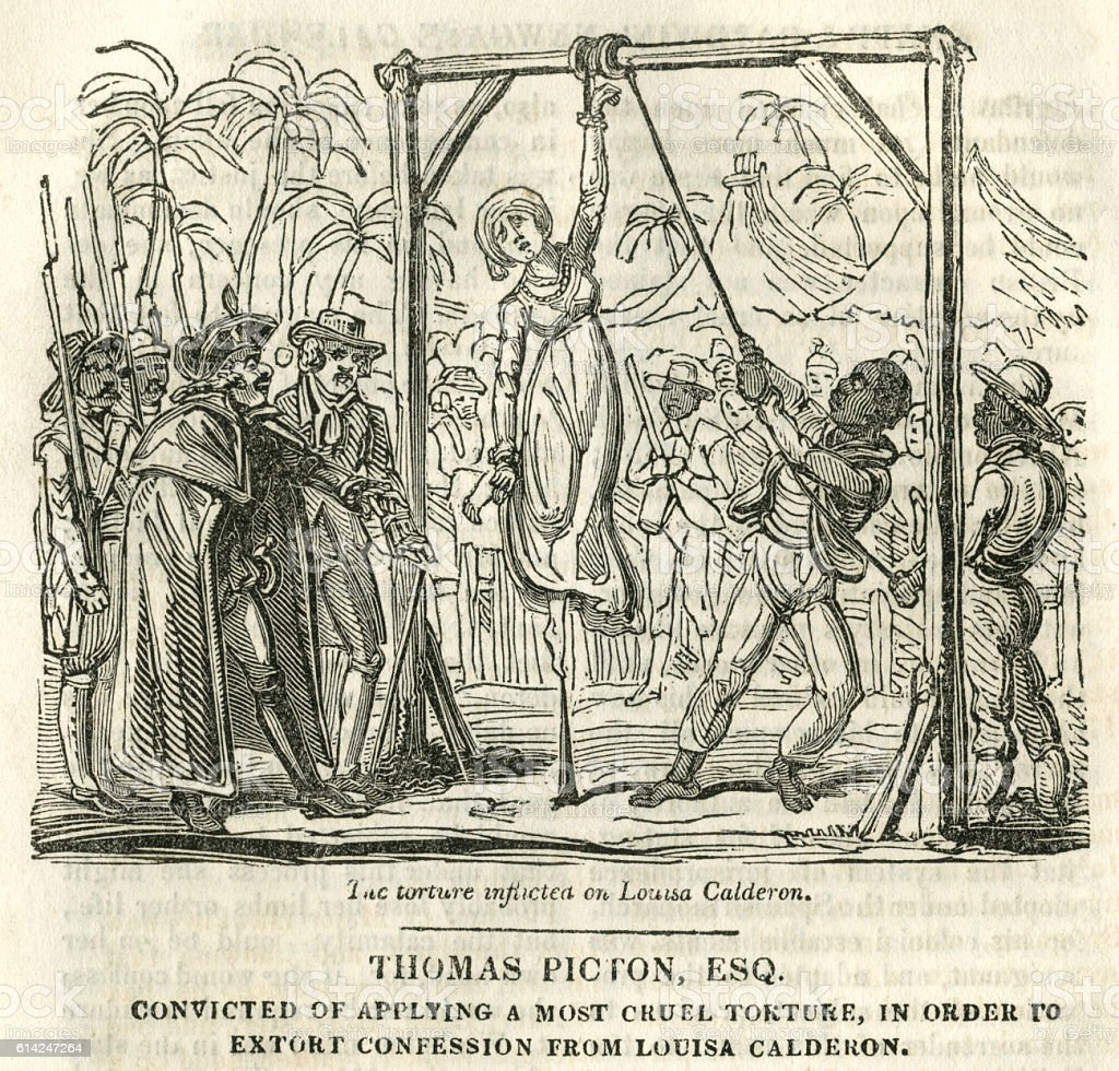 Thomas Picton, convicted of torture vector art illustration