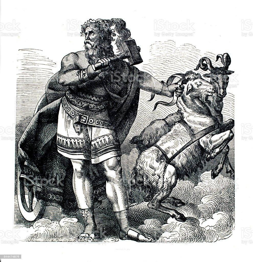 Thor god of thunder vector art illustration