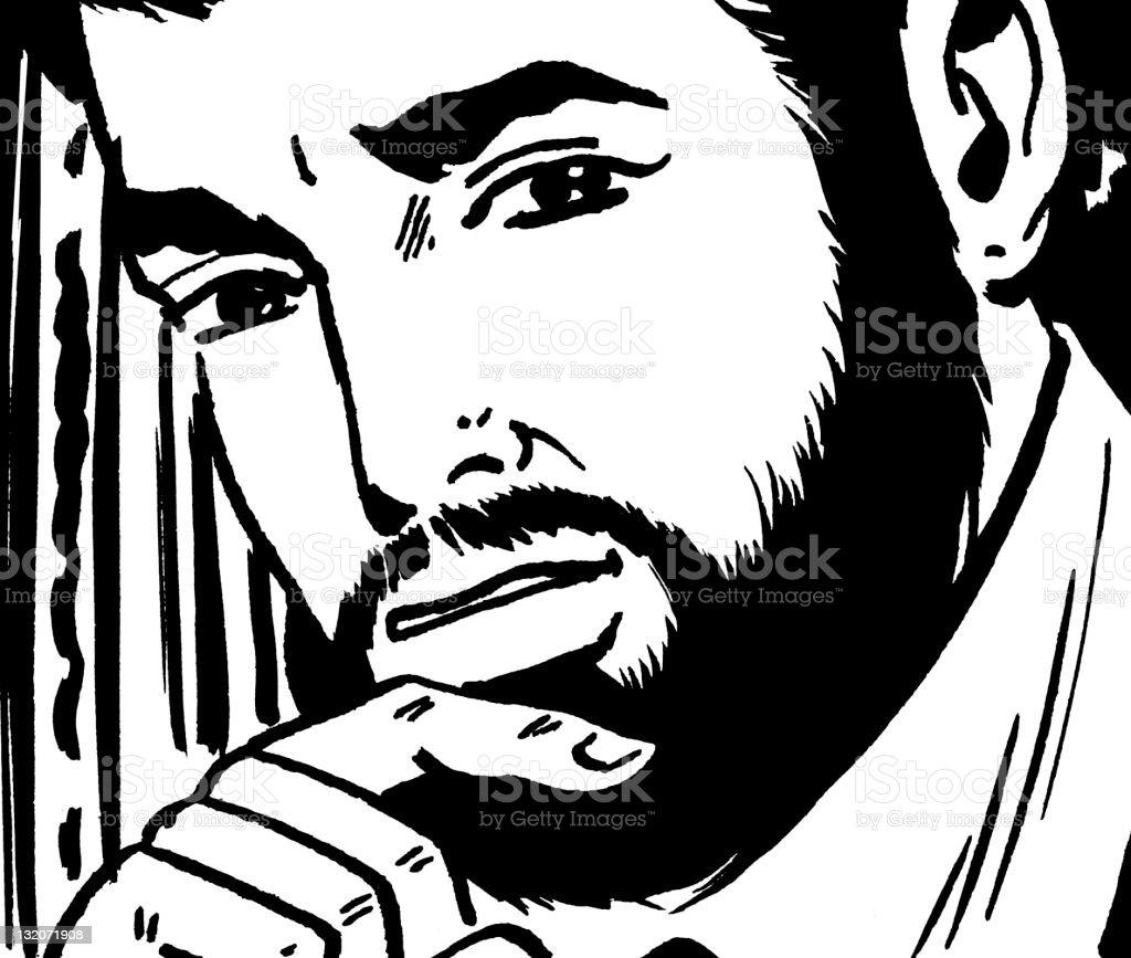 Thoughtful Bearded Man vector art illustration