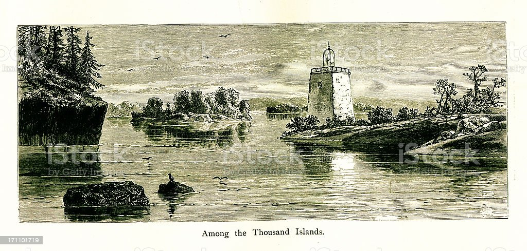 Thousand Islands, USA | Historic American Illustrations royalty-free stock vector art