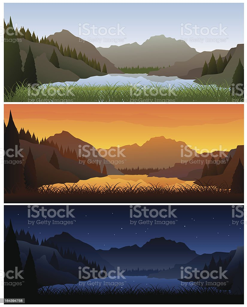 Three banners showing day cycle. vector art illustration