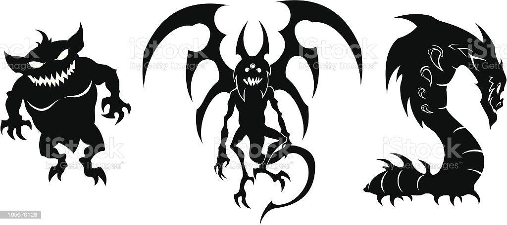 Three black Monsters royalty-free stock vector art